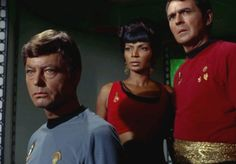 "startrekmania: "" Star Trek TOS Mirror Mirror. Bones, Uhura and Scotty. """