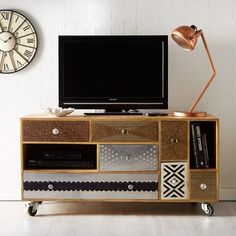 Superbe Sorio Reclaimed Wood TV Cabinet Wheels