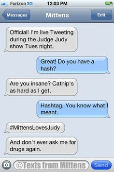It's a Texts from Mittens Twitter party Tuesday night during the Judge Judy primetime special (CBS, 8 EDT/7 CDT)! Join us with #MittensLovesJudy! Funny Texts To Send, Funny Text Memes, Funny Text Messages, Funny Quotes, 9gag Funny, Memes Humor, Funny Troll, Funny Cats, Jokes