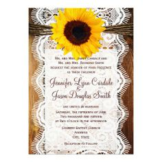 Country Barn Wood Lace Sunflower Wedding Invitations.  40% OFF when you order 100+ invites.