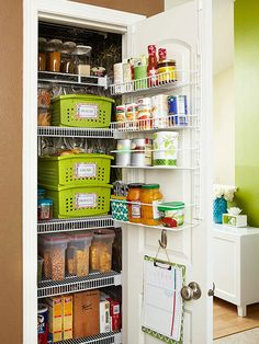 Make every inch count in a kitchen pantry. An over-the-door storage system is handy for keeping things you use on a regular basis. Store dried goods in clear containers so it's easy to see what you have. Put similar items, like packaged snacks and bread, together and keep them in baskets with labels. Hang a shopping list on the door to keep track of what you need to replenish.
