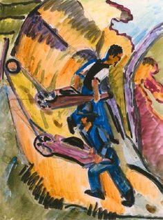 Ernst Ludwig Kirchner - Männer mit Schubkarren (1926)