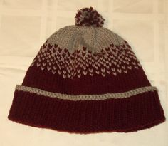 Handknit Trendy Fair Isle Football Sideline Hat/Toque/Beanie.Montana University/Vassar College inspired(maroon and gray)pompom optional by Driftwillow on Etsy