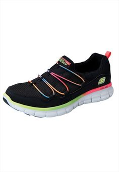 I can not wait to order these when they are available at ScrubsAndBeyond.com. I am a huge Skechers fan and I love the neon to brighten my day. The rainbow just pops off the black, doesn't it?  Skechers Loving Life womens athletic shoes. #98280 These sporty, energetic athletic shoes from Skechers will give you style and support for those long work shifts!