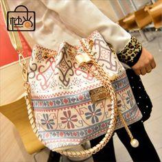 Dusun promoção da mulher bag chains moda balde saco de lona patchwork bolsa de ombro mulheres saco de marca mensageiro mulheres bolsa bolsas