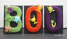 Repeat Crafter Me made this creepy cute yarn wrapped letters with Vanna's Choice yarn just in time for Halloween!