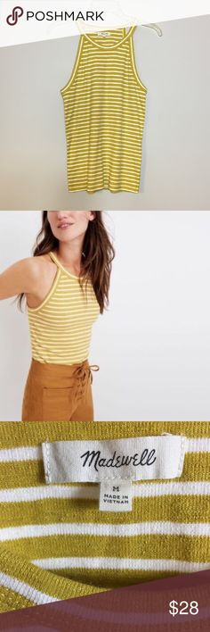 "Madewell Time off Marion Stripe Tank Top Excellent condition Madewell Time Off Marion Stripe Tank Top.  Mustard yellow with ivory stripes.  Excellent condition.  Size M  Measures 16"" pit to pit.  Length is 25""  Check out my other listings to bundle and save 🍑 Madewell Tops Tank Tops"