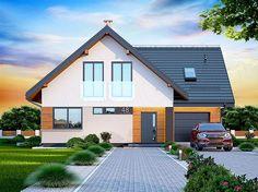 Projekt domu z poddaszem Noelia Modern o pow. 119,02 m2 z garażem 1-st., z dachem dwuspadowym, z tarasem, sprawdź! Design Case, Pool Houses, Home Fashion, House Plans, Sweet Home, Shed, Outdoor Structures, House Design, Cabin