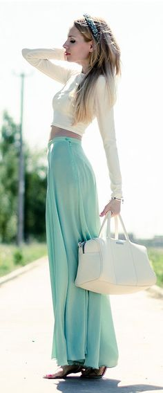 Cool Aqua | Long Maxi Skirt.