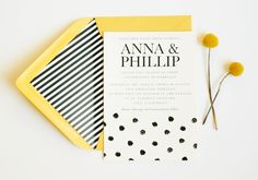 Polka Dot Wedding Invitation // Wedding Announcement $1.50, via Etsy. - wondering if we could do it black background with white text...