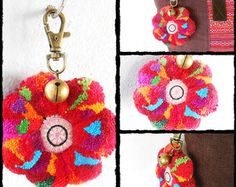 Enhance your handbag with this beautiful and Cute accessory. Made by hand in Thailand.  The color is similar but the pattern changes on each of the keychain.  ❤ Thailand Handmade keychain, made by hands with love. ❤  ★ Size, Dimension  Width - 3 Length - 6  ★ Payment & Shipping  ***Item will ship within 5 days of payment by Thailand Post, the cost of this shipping includes Registered Mail for the entire order.***  IT NORMALLY TAKES 20-30 DAYS FOR DELIVERY DEPENDING ON COUNTRY  Please cont...