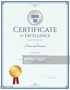 Portrait Certificate Of Achievement Template In Vector With