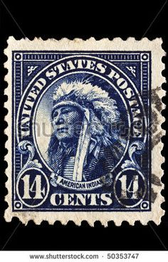 UNITED STATES - CIRCA 1920's : A stamp printed in United States. Portrait of American Indian wearing native headdress. United States - circa 1920's - stock photo