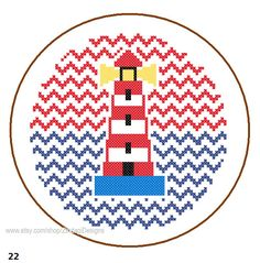 Instant Download Lighthouse Cross Stitch Pattern cute chevron background red blue kid room wall cushion sweater dress sea nautical card gift