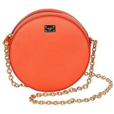 Dolce & Gabbana Orange Leather Round Shoulder Bag (€580) ❤ liked on Polyvore featuring bags, handbags, shoulder bags, purses, bolsas, clutches, orange leather handbag, dolce gabbana handbag, leather shoulder bag and chain shoulder bag