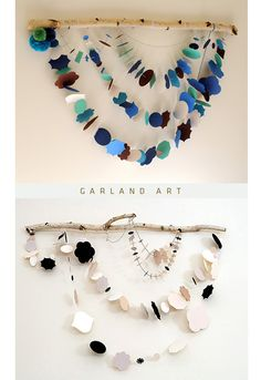 Garland made of paper. Cool idea for above a bed or anywhere on the wall really.