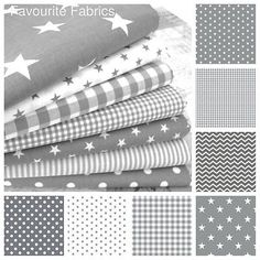 STARS - GREY and WHITE COTTON FABRIC by the metre EX WIDE NURSERY BOYS Oeko-tex in Crafts, Sewing & Fabric, Fabric | eBay