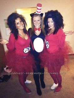 Last-Minute Sexy Girls Group Costume: Thing Thing 2 and Cat in thing 1 thing 2 halloween makeup - Halloween Makeup Trio Costumes, 3 People Halloween Costumes, 3 People Costumes, Halloween Costumes For 3, Halloween 2014, Cute Costumes, Group Costumes, Halloween Party, Halloween Makeup