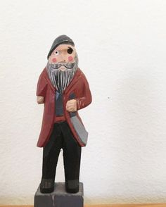 Pirate Statue hand carved wooden small pirate by YourGreatestStory