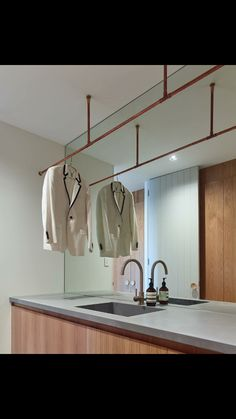 copper pipe hanging rail, mirror bench to ceiling Copper Clothes Rail, Hanging Clothes Rail, Hanging Rail, Copper Shelf, Copper Wall, Mirror Ceiling, Ceiling Hanging, Pipe Lighting, Copper Lighting