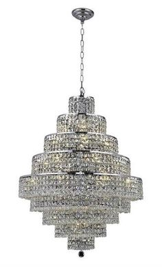 """Chantal - Hanging Fixture (20 Light Contemporary Hanging Crystal Chandelier) - 1734D30  ➤ Dimensions: W/D 30"""" x H 41"""""""