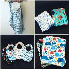 super easy DIY baby stuff! DIY nursing cover, receiving blankets, bibs, burp cloths