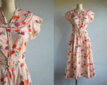 Vintage 40s Dress / 1940s Floral Print Cotton Day Dress Housedress Red Orange White / New Old Stock