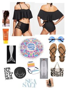 """""""Slaying the beach in black.."""" by dyanetteballet on Polyvore featuring Billabong, PBteen, Rip Curl, Sunnylife, Lacvert and Cirque Colors"""