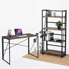 Coavas Bookcase 4-Tier Shelf Storage Organizer (23.6x11.6x49.2 Inch) No-Assembly Sturdy Foldable Rustic Shelves Stand Storage Shelves Display Home Office - Industrial: Amazon.co.uk: Kitchen & Home