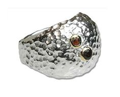 Silver Hammered Puffy Dome Statement Ring with Red Stone -- Continue to the product at the image link.(It is Amazon affiliate link) #likeforlike
