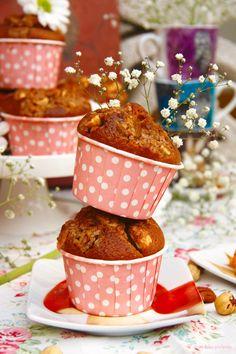 Muffins de toffee y frutos secos