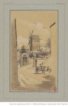 Le Moulin de la Galette et la montée de la rue Lepic étant placé au coin de la rue d'Orchamp : Montmartre - Grandes Carrières : [dessin] / JA Chauvet [Jules-Adolphe Chauvet] - 1