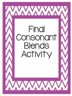 This activity can be used to help students become familiar with final consonant blends. This can be used as a small activity can be used in a multitude of ways. Reading Tutoring, Reading Intervention, Kindergarten Reading, Dyslexia Teaching, Student Teaching, Teaching Ideas, Consonant Blends, Consonant Digraphs, Wilson Reading Program
