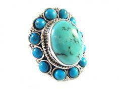 Silver ring with turquoise (Stříbrný prsten s tyrkysy)  https://autorskesperky.com/en/rings/75-silver-ring-with-turquoise.html