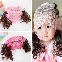 New Style Children Hair Accessories Baby Headbands Flowers Bow with Wig Child Hair bands