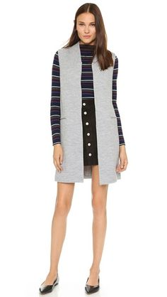 Club Monaco Merel Wool Vest + striped mock turtleneck merino sweater + button-up a-line skirt + pointed toe flats