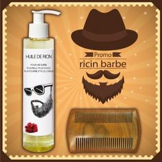 Pack promo : Huile de ricin barbe + peigne à barbe en bois de santal antistatique