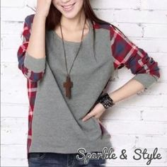 ✨PLAID AND GRAY TOP✨ Stylish plaid and grey long sleeve top. Very comfortable! Tag says M, but fits like XS. Tops