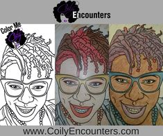 Natural Hair Adult Coloring Book and pages features afro puffs, twist outs, bantu knots and loc styles for women.  We call this Natural Hair Adult Coloring Page, Tippy!  Natural Hair Types: 3a, 3b, 3c, 4a, 4b, 4c  To purchase our natural hair coloring book, visit www.ColorMeCoily.com