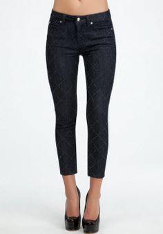 Diamond Print Ankle Zipper Crop Jean #womens fashion