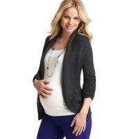 "Maternity Shawl Collar Cutaway Knit Blazer - A casually upscale alternative to the blazer (in a luxe merino wool blend) stars a smart shawl collar and a glam cutaway hem—for a new twist on dressing up. Shawl collar. Long sleeves. Two-button closure. Welt pockets. 20 1/4"" long."