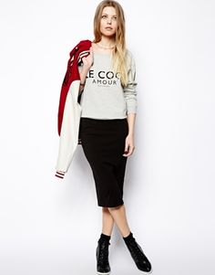 Image 1 ofASOS Pencil Skirt In Jersey: Add kitschy top.