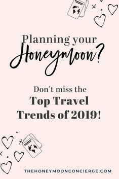 Whether you're planning your dream honeymoon vacation, or your next bucket list trip it pays to stay ahead of the curve. Here are the top travel trends we're seeing in The Honeymoon Concierge. About: Couples trip ideas, adventure travel luxury travel. Winter Wedding Destinations, Top Honeymoon Destinations, All Inclusive Honeymoon, Greece Honeymoon, Destination Wedding Locations, Honeymoon Ideas, Honeymoon Packing, Romantic Getaways, Travel Couple