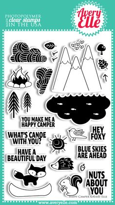 Avery Elle  - Happy Camper Clear Photopolymer Stamps, $15.00 (http://www.averyelle.com/happy-camper-clear-photopolymer-stamps/)