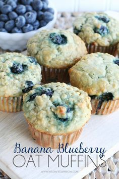 Banana Blueberry Oat Muffins - thecraftedsparrow.com