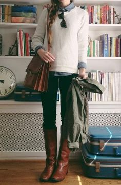 chambray / cream / black / brown boots - adorable!