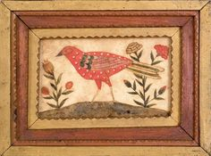 Engraver Artist (Pennsylvania, active 1791-1804), watercolor fraktur of a song bird flanked by flowers
