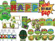 INSTANT DOWNLOAD Teenage Mutant Ninja Turtles Party Kit, Birthday Party Package