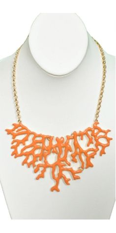 JEWELRY-NECKLACE Coral Tree Necklace in Orange at Vestique