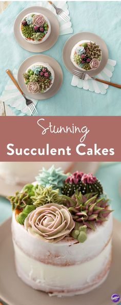 How to Make Succulent Cakes - Learn how to use the decorating tips in your collection to create amazing blooming succulents. Great for tea parties, birthdays, bridal showers and weddings, these stunning mini cakes are a great way to showcase your decorating skills. Mix and match succulent styles and colors to create the edible garden of your dreams! l #Wiltoncakes